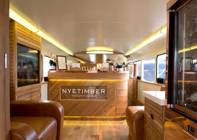 The Nyetimber has three lavish hospitality areas – the Garden, Lower Deck and Upper Deck - each of which has been designed to the highest detail